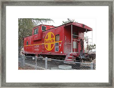 Red Sante Fe Caboose Train . 7d10325 Framed Print by Wingsdomain Art and Photography