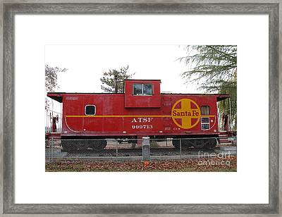 Red Sante Fe Caboose Train . 7d10328 Framed Print by Wingsdomain Art and Photography