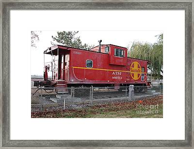 Red Sante Fe Caboose Train . 7d10329 Framed Print by Wingsdomain Art and Photography