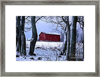 Red Shed In Winter Framed Print