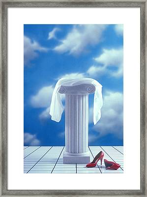 Red Shoes And Pedestal Framed Print by Garry Gay