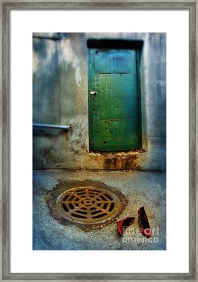 Red Shoes By Green Door Framed Print by Jill Battaglia