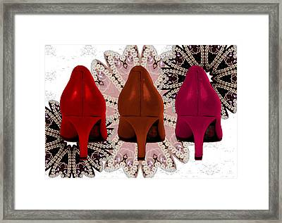 Red Shoes In Shades Of Red Framed Print