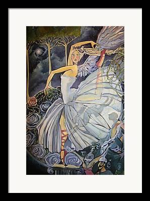 Dance Ballet Roses Drawings Framed Prints