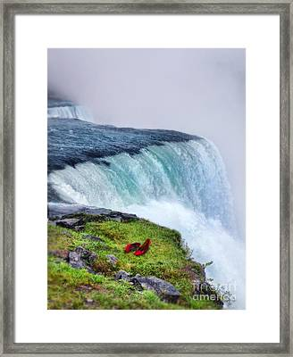 Red Shoes Left By The Falls Framed Print by Jill Battaglia