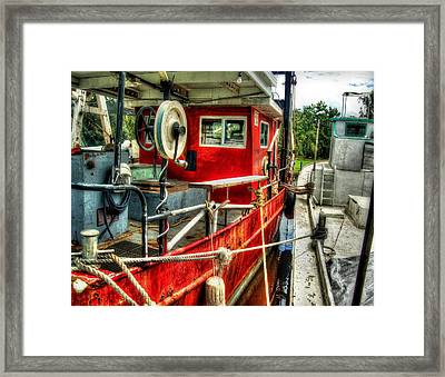 Red Shrimper Framed Print by Michael Thomas