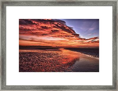 Red Sky Beach Sunrise Framed Print