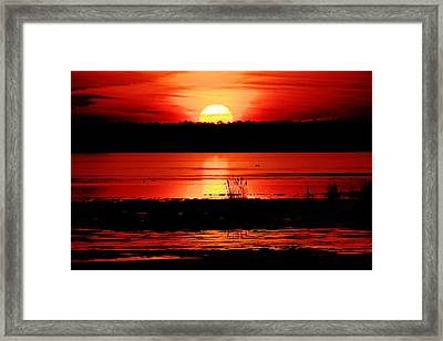 Red Sky Reflected Framed Print by DK Hawk