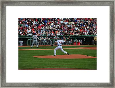 Red Sox Retiree Tim Wakefield Framed Print by Mike Martin