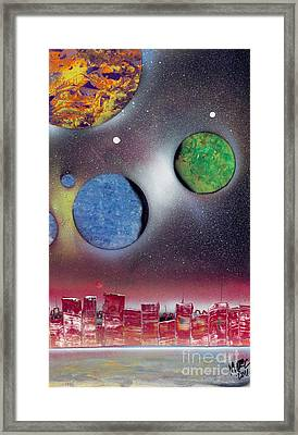 Red Space City Framed Print by Marc Chambers