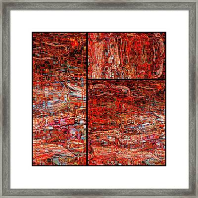Red Splashes Swishes And Swirls - Abstract Art Framed Print by Carol Groenen