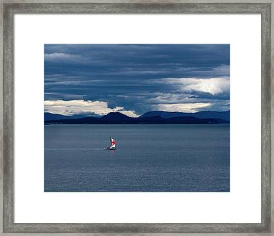 Framed Print featuring the photograph Red Star Sail by Lorraine Devon Wilke