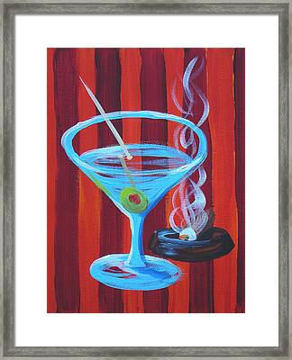 Red Stripe Martini Framed Print by Michael Baum