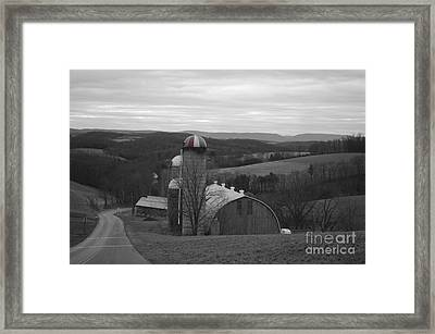 Red Striped Silo Framed Print by Randy Edwards