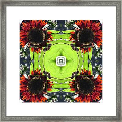 Red Sunflowers In A Square Framed Print