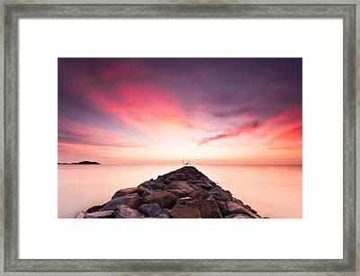 Red Sunrise Framed Print by Yusri Salleh