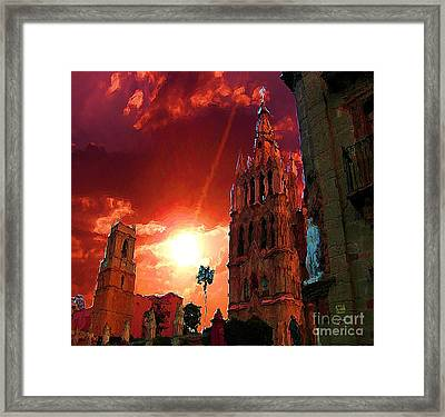 Framed Print featuring the photograph Red Sunset Over The Paroquio by John  Kolenberg