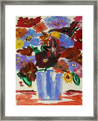 Red Table- Lavender Vase Framed Print by Mary Carol Williams
