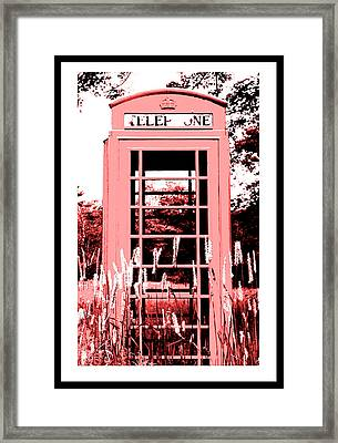 Red Telephone Booth In A Field In Maine Framed Print