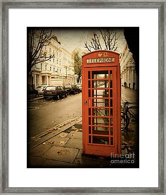 Red Telephone Booth In London England In A Grunge Vintage Border Framed Print by ELITE IMAGE photography By Chad McDermott