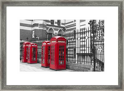 Red Telephone Boxes Framed Print by David French