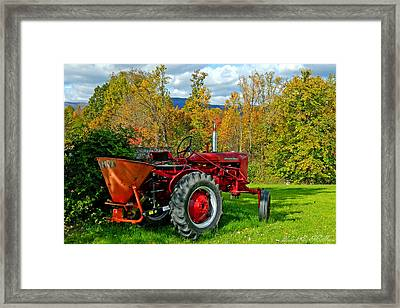 Red Tractor And Green Grass Framed Print
