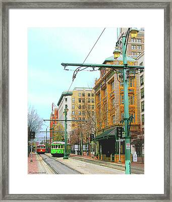 Framed Print featuring the photograph Red Trolley Green Trolley by Lizi Beard-Ward