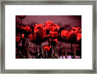 Red Tulips At Dusk Framed Print