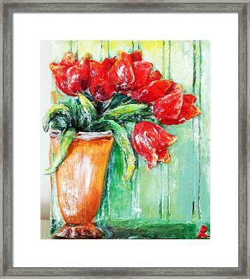 Red Tulips In Vase           Framed Print