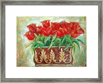 Red Tulips On The Wall Framed Print