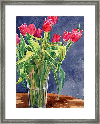 Red Tulips Framed Print by Peter Sit