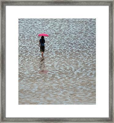 Red Umbrella  Framed Print by Lynn Hughes