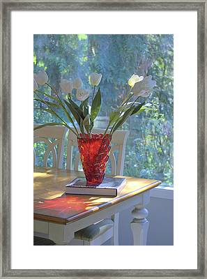 Red Vase With Flowers In Window Framed Print