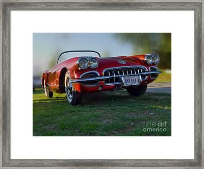 Red Vette Framed Print