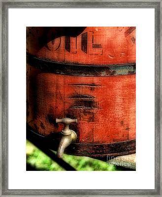 Red Weathered Wooden Bucket Framed Print by Paul Ward