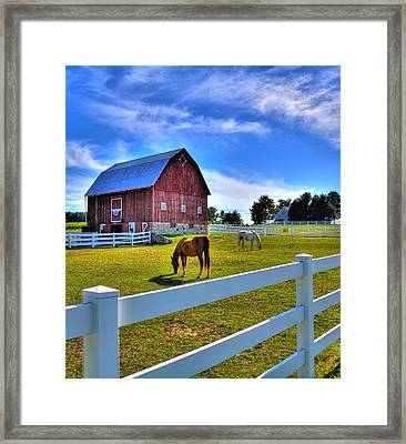 Red White And Barn Framed Print by Coby Cooper