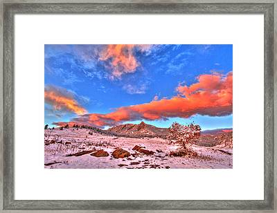 Red White And Blue Winter Framed Print by Scott Mahon