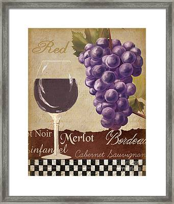 Red Wine Collage Framed Print by Grace Pullen