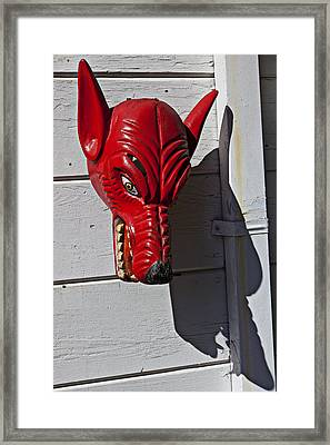 Red Wolf Mask Framed Print by Garry Gay