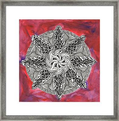 Red Zendala Framed Print