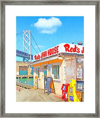 Reds Java House And The Bay Bridge At San Francisco Embarcadero Framed Print