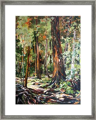 Framed Print featuring the painting Redwoods Maui by Rae Andrews