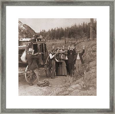 Reenactment Of A Stage Coach Robbery Framed Print