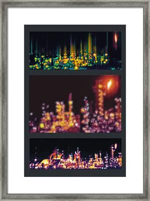 Refinery Night Views Triptych Framed Print by Steve Ohlsen