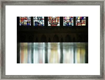 Reflecting On The Beauty Of Canterbury Cathedral Framed Print by Lisa Knechtel
