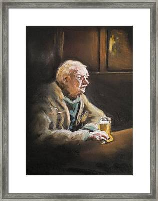 Reflecting Over A Pint Framed Print by Paul Mitchell