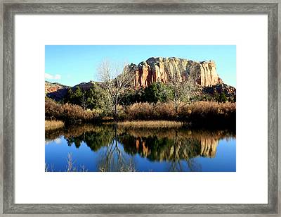 Framed Print featuring the photograph Reflection At Ghost Ranch by Laurel Talabere
