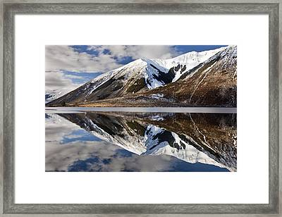 Reflection In Lake Pearson, Castle Hill Framed Print by Colin Monteath
