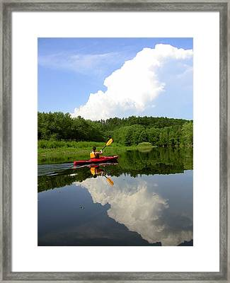 Reflection Of A Kayaker On The Merrimack Framed Print by Rick Frost