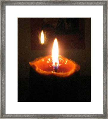 Reflection Of Burning Candle Framed Print by Toni Roberts